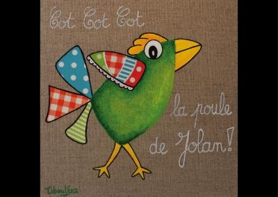 """""""Cot cot cot… La poule de Jolan"""" (20/20 cm)"""