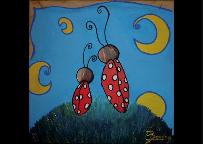 """Discussion de coccinelles"" (30/30 cm)"