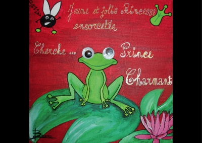 """… Cherche prince charmant"" (30/30 cm)"
