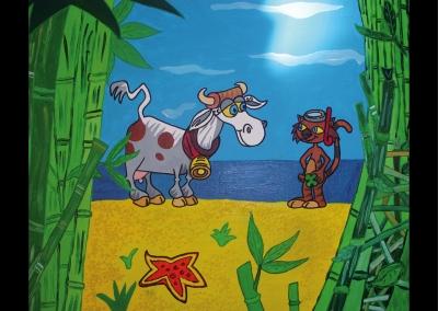 """""""Le chat, la vache et l'océan"""" (38/46 cm)"""